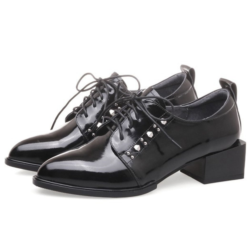 GAOLIXIA Damen Damen Echtes Leder Arbeitsschuhe Spitz Nieten Schuhe mit hohen Absätzen Mit Schwarz Grün Mode Stiefel Pumps Pumps  36|Schwarz