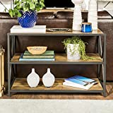 New 40 Inch Wide X-Frame Metal Media Shelf - Rustic Oak Color