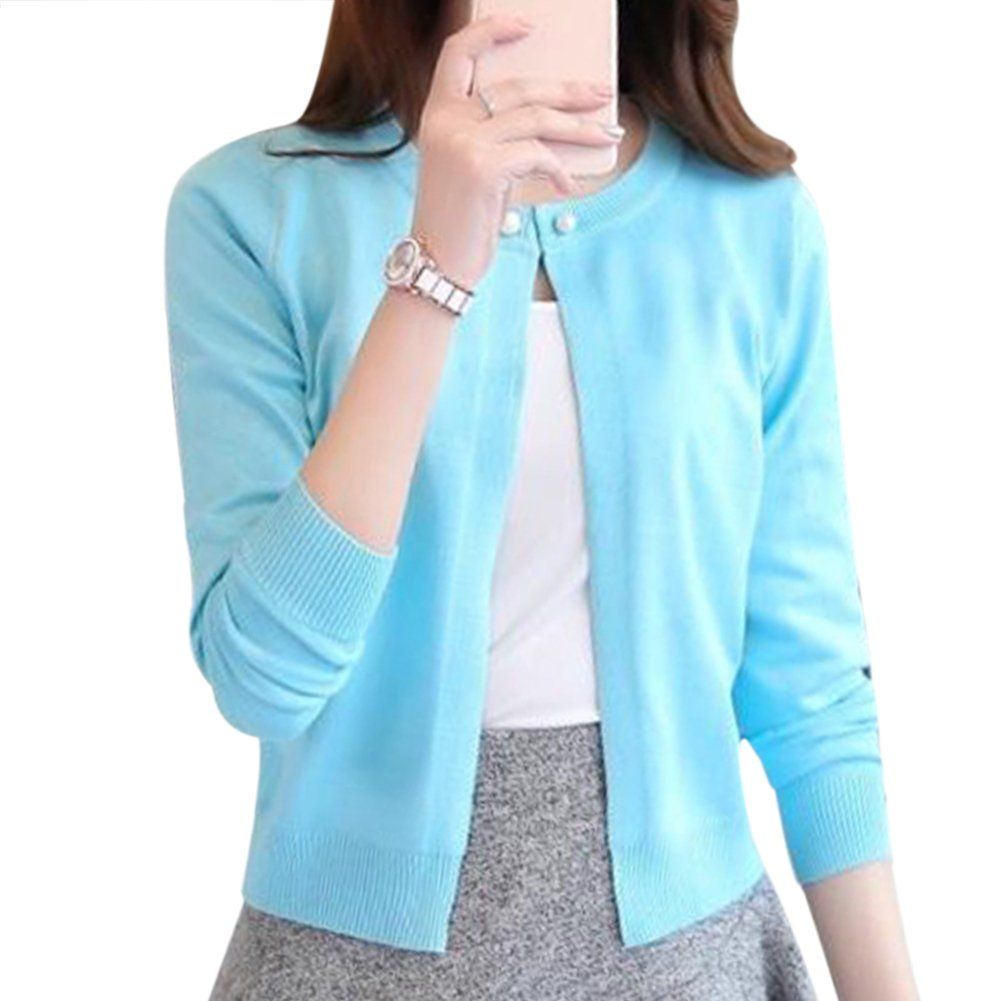 FUNOC Women's Casual Korean a Buckle Shawl Sweater Cardigan Coat