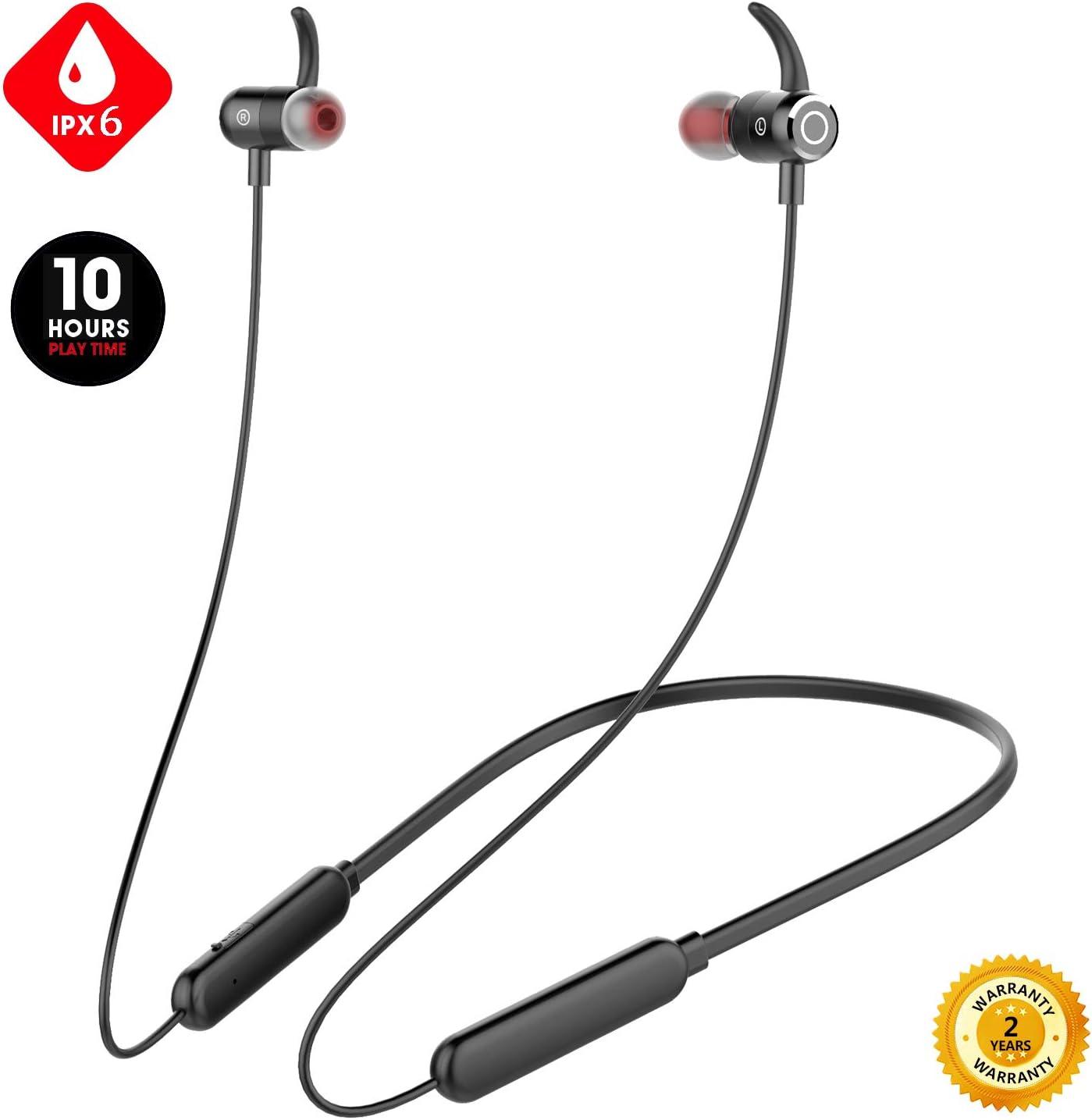 Junesh 2019 Newest Wireless Headphones, Premium 10hrs Bluetooth Earphones, Neckband Headphones with Mic,IPX6 Waterproof Wireless Earbuds Sport,HiFi Bass Magnetic Earbuds for Running Workout Gym