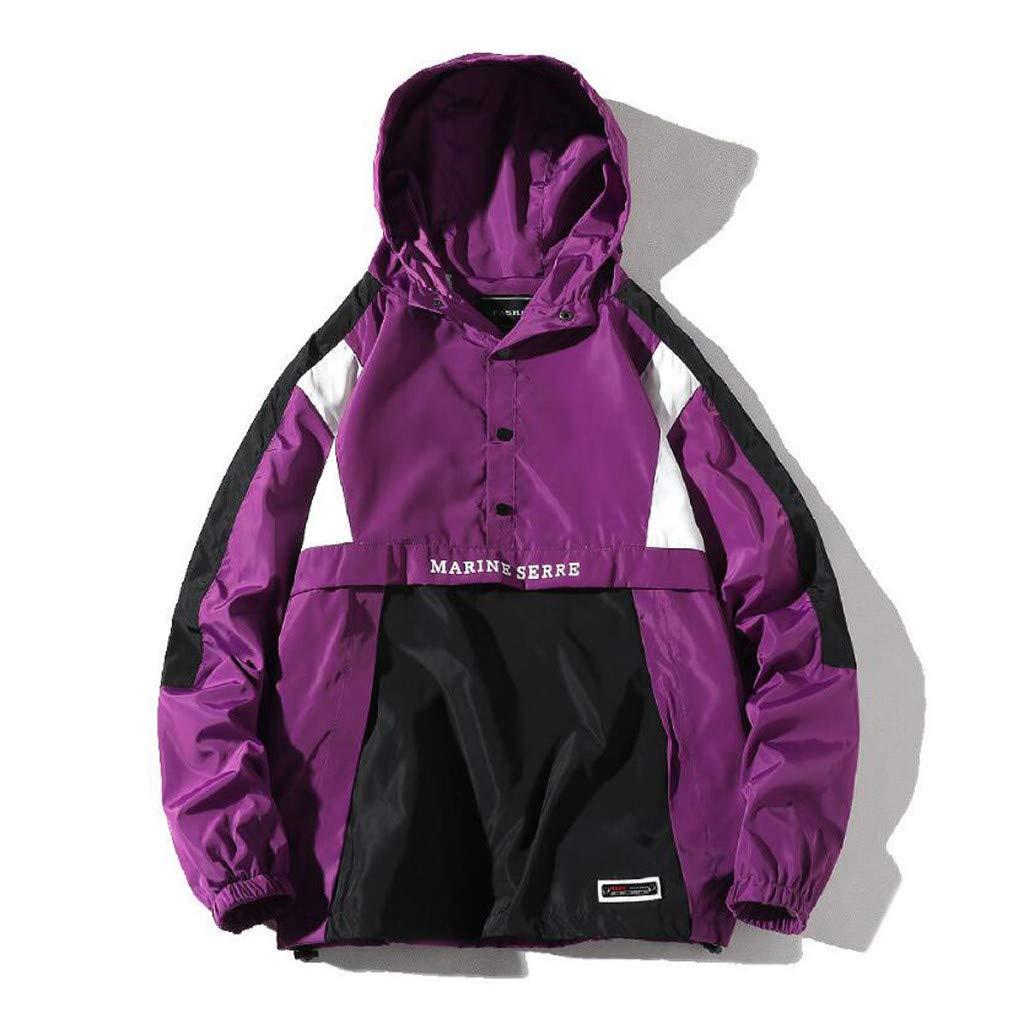 iHAZA Hommes L'automne Hiver Décontractée en Vrac Encapuchonné Patchwork Sport de Plein air Veste Manteau Hauts Violet