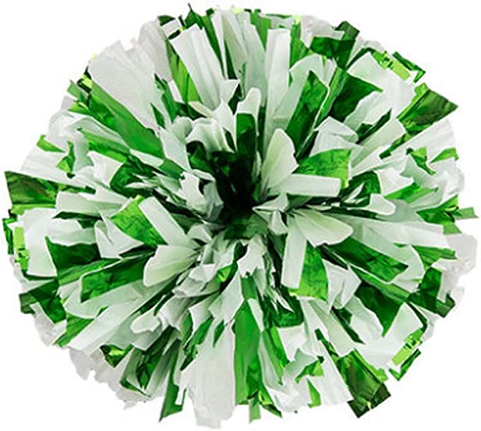 Cheerleader Pom Poms with Handles Green, 12 Pack