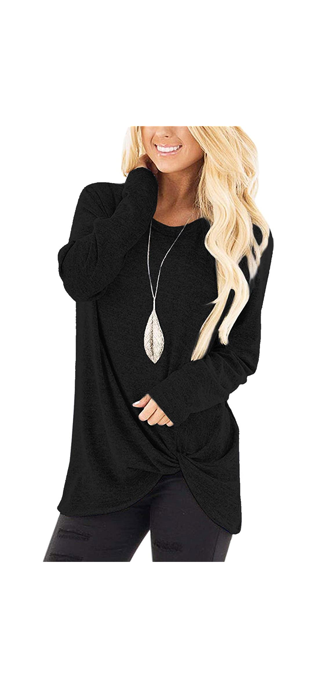 Women's Soft Casual Tops Shirts Fashion Twist Knotted T