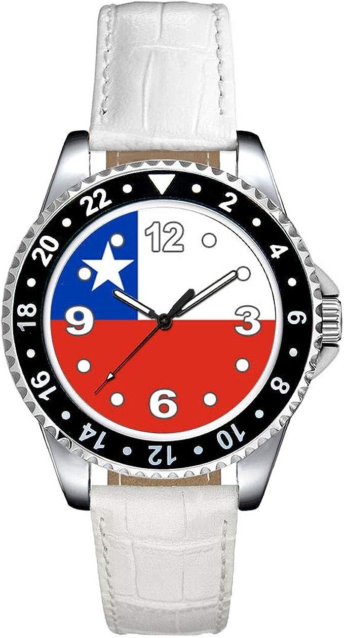 Timest - Bandera de Chile - Reloj para Mujer con Correa de Cuero Blanco SE0383LW: Amazon.es: Relojes