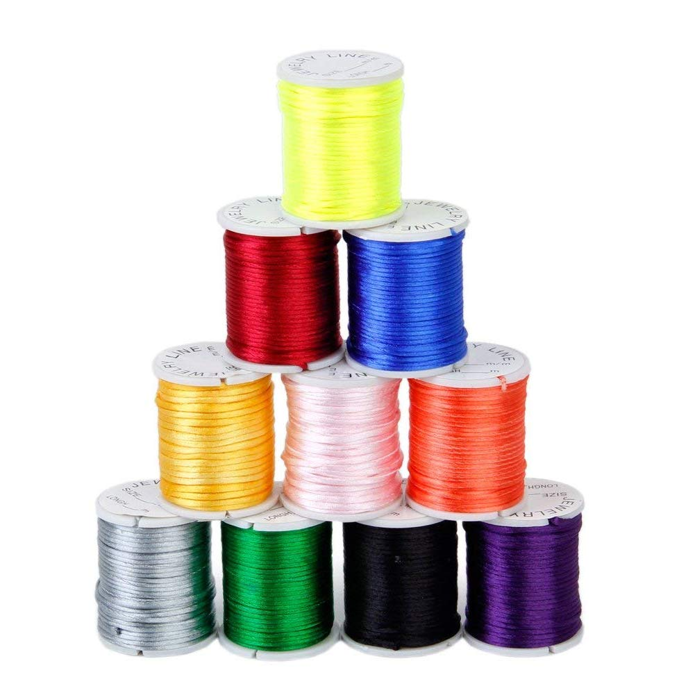 Nylon Chinese Knot Cord Mixed Color Rattail Beading Thread String DIY Jewellery Making Random Color 10Rolls Aszune