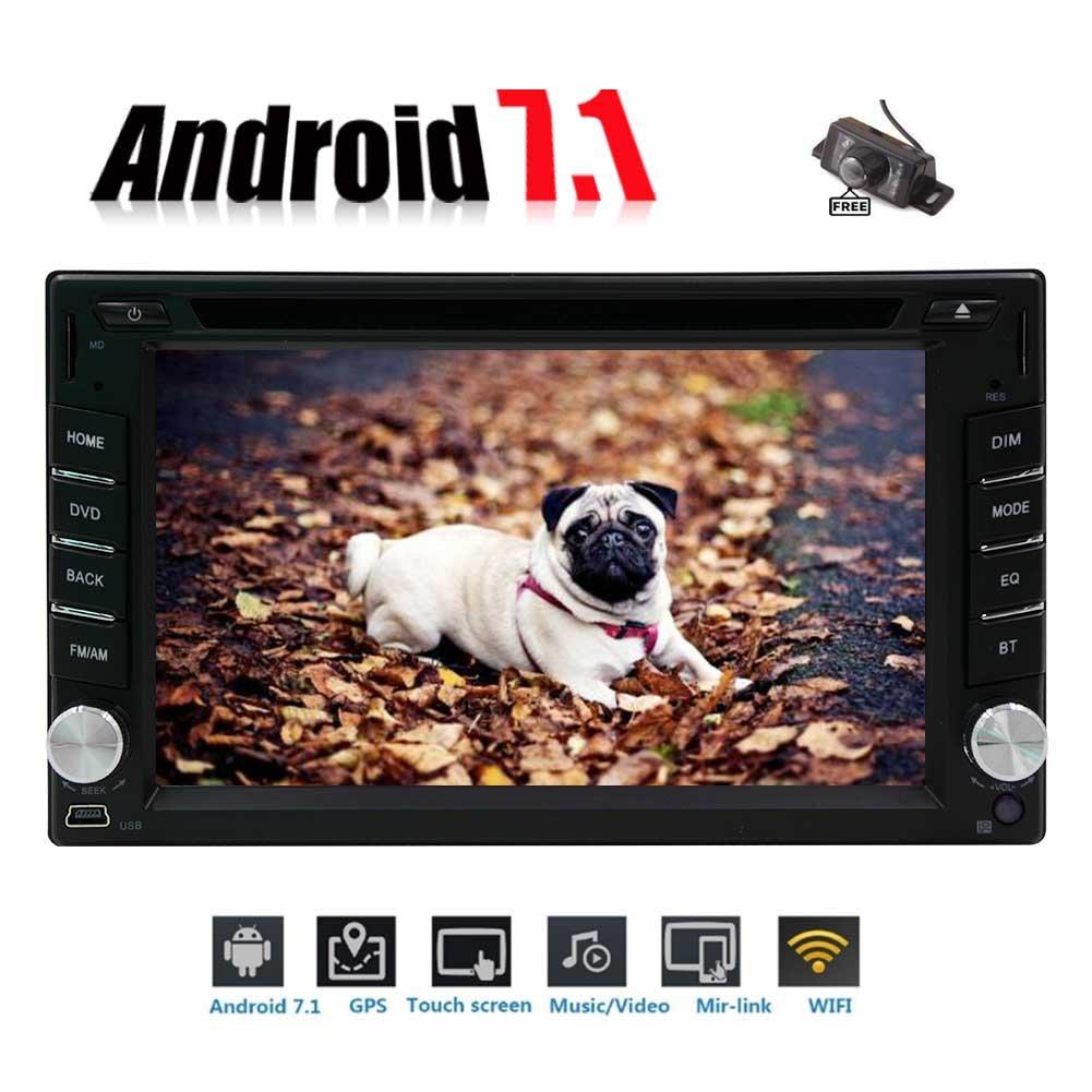 フリーカメラとリモートコントロール! 6.2インチのAndroidユニバーサル車のサポートBluetoothのミラーリンク/ USB / SD / OBD / 2ギガバイト32ギガバイト7.1ダブルディンオクタコアWIFIモデルカーDVDプレーヤーステレオGPSナビゲーション B0778PM5MH