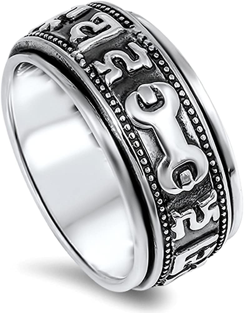 Mens Spinner Wrench Symbol Wedding Ring New 925 Sterling Silver Band Sizes 7-12