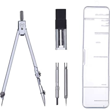 Stainless Steel Drawing Compass Math Geometry Tools for Circles, Total 5  Pieces (Included Box)