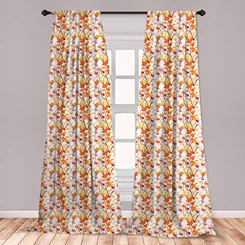 Ambesonne Fall Window Curtains, Swirling Fall Leaves