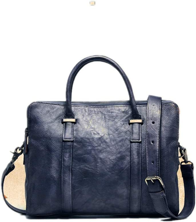 Color : Brown Lumeng Simple Mens Bag Leather Bag Casual Retro Multi-Function Double Zipper Bag Top Leather Business Mens Computer Bag