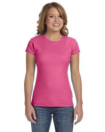 0aa50a333 Bella Ladies 11 Rib Short Sleeve Crewneck T-Shirt, Very Pink, XX ...