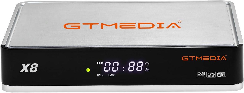 GT MEDIA X8 DVB-S/S2/S2X Decodificador Satélite Receptor de TV Digital con Wi-Fi Incorporado / Ethernet / SCART / 1080P Full HD / Multi-Stream / T2-MI / H.265 HEVC 10bit / Biss Auto Roll
