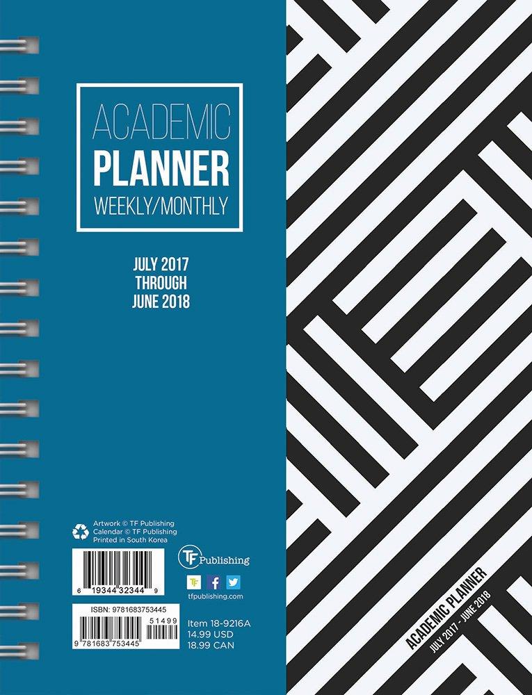 2018 academic black white stripe weekly monthly planner july 2017 june 2018