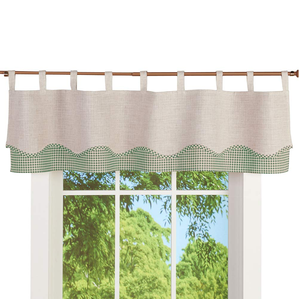 Collections Etc Gingham and Burlap Tab Top Window Valance Curtain - Checkered Country Décor for Any Room in Home, Sage