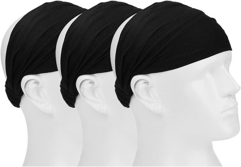 Black Mudder 3 Pieces Elastic Sports Headband Wicking Sweatband 5 Inch for Fashion Yoga and Exercise