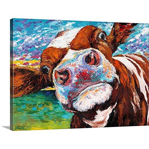 Curious Cow I Canvas Wall Art Print, 24x18x1.25