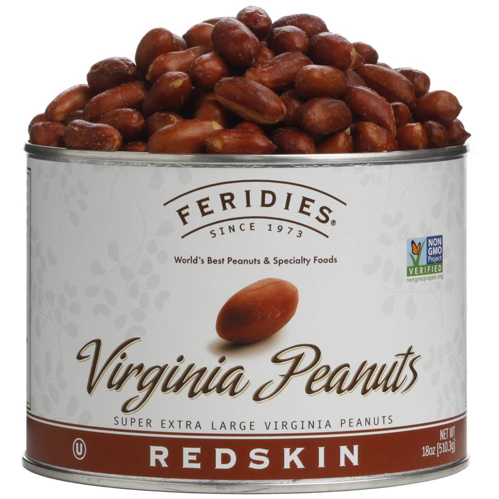 FERIDIES Super Extra Large Red Skin Virginia Peanuts - 18oz Vacuum Sealed Tin