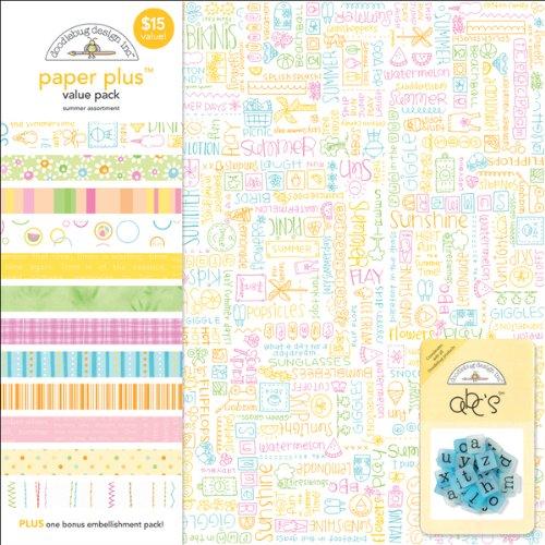 Doodlebug Design Paper Plus Assortment Pack 12x12 Sheets 12/Pkg-Summer Time Doodlebug Design Page Kit