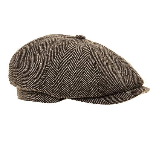 68390ce11d2 Black Grey Herringbone Newsboy 8 Panel Baker Boy Tweed Flat Cap Mens Gatsby  Hat (57cm