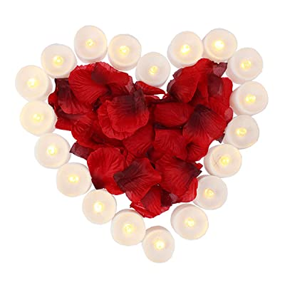 obmwang Pack of 24pcs Realistic Flameless LED Tea Light Candles and 1000pcs Dark Silk Rose Petals Artificial Red Rose Flower Petals, Ideal for Valentine's Day, Proposal, Wedding, Anniversary, Honeymoo: Home Improvement