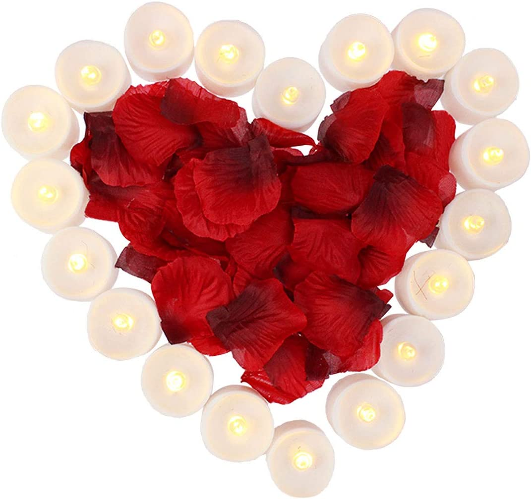 obmwang Pack of 24pcs Realistic Flameless LED Tea Light Candles and 1000pcs Dark Silk Rose Petals Artificial Red Rose Flower Petals, Ideal for Valentine s Day, Proposal, Wedding, Anniversary, Honeymoo