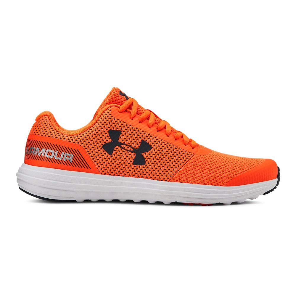 Under Armour Boys' Grade School Surge RN Sneaker, Orange Glitch (601)/White, 3.5