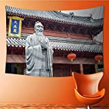 AmaPark Tapestry Wall Hanging Confucius Statue Text on The Pavilion translating into English is dacheng Home Decorations for Bedroom Dorm 60W x 40L Inch