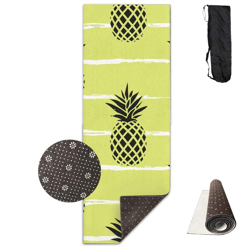 Summer Pineapple On Stripes Deluxe,Yoga Mat Aerobic Exercise Pilates Anti-slip Gymnastics Mats