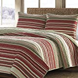 MISC 2pc Rustic Red White Beige Twin Quilt Set, Traditional Classic Patchwork Themed Bedding Vintage Antique Cranberry Ivory Tan Plaid Tartan Khaki Cottage Cabin, Cotton
