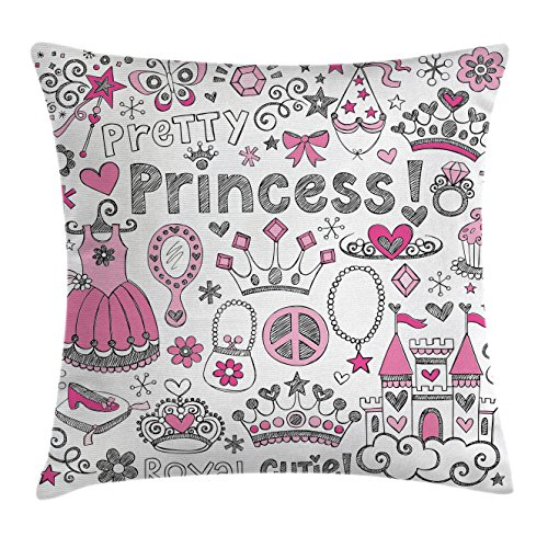 Fairy Tale Friends Tiara (Teenager Decor Throw Pillow Cushion Cover by Ambesonne, Fairy Tale Princess Tiara Crown Notebook Doodle Design Sketch Art Print, Decorative Square Accent Pillow Case, 20 X 20 Inches, Black White)