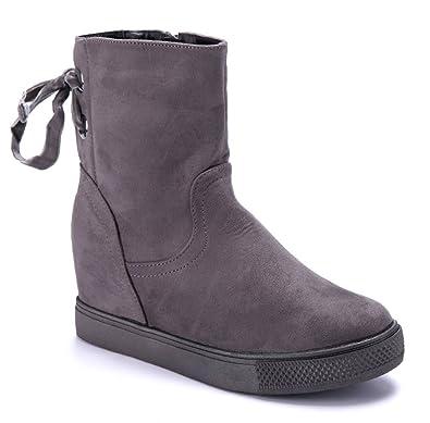 Schuhtempel24 Damen Schuhe Keilstiefeletten Stiefel