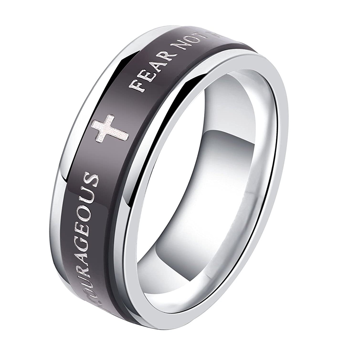ALEXTINA 7MM Black Stainless Steel Bible Verse Isaiah 41:10 JOSHUA 1:9 Christian Ring Spinner Wedding Band (Size M-Y)
