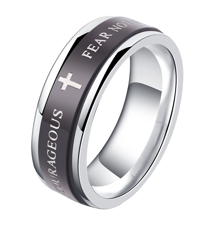 ALEXTINA 7MM Black Stainless Steel Bible Verse Isaiah 41:10 Joshua 1:9 Christian Ring Spinner Wedding Band Size 10