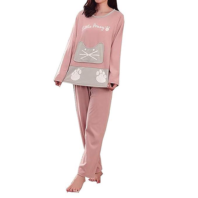 Betrothales Larga Manga Dibujos Manga Pijamas Impresión Mujeres Larga Gato Set Ropa De Noche Animados Pink Tops Camisones Pants Pijama Dormir del: ...