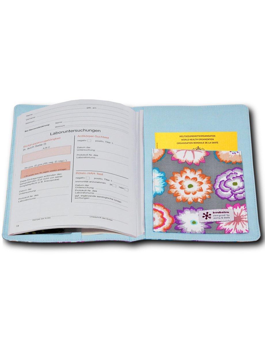 boubalou Mutterpass-H/ülleSummer Butterfly aus Stoff mit integrierter Impfpasstasche