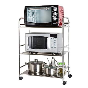 Carrito de Almacenamiento de 3 Niveles para Racks de Cocina con Ruedas, Carro multifunción para