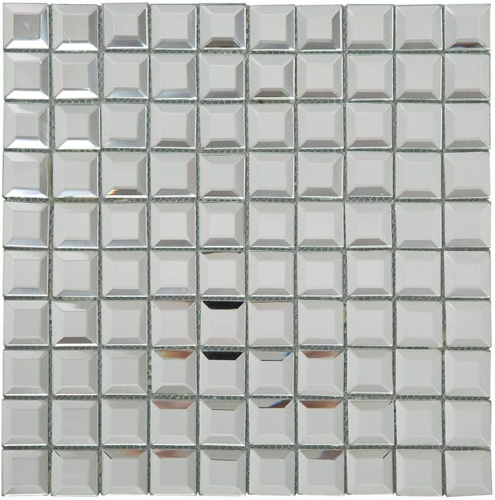 Soulscrafts Silver Crystal Square Mirror Glass Mosaic Tiles Frosted Glass Mosaic Tile for Kitchen Backsplash Bathroom Pack of 5