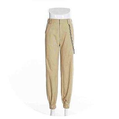 dc1f17c2 Closer-to-U 95% Cotton Chain Decoration Khaki Black High Waist Cargo Pants  Zipper Casual Trousers Streetwear at Amazon Men's Clothing store: