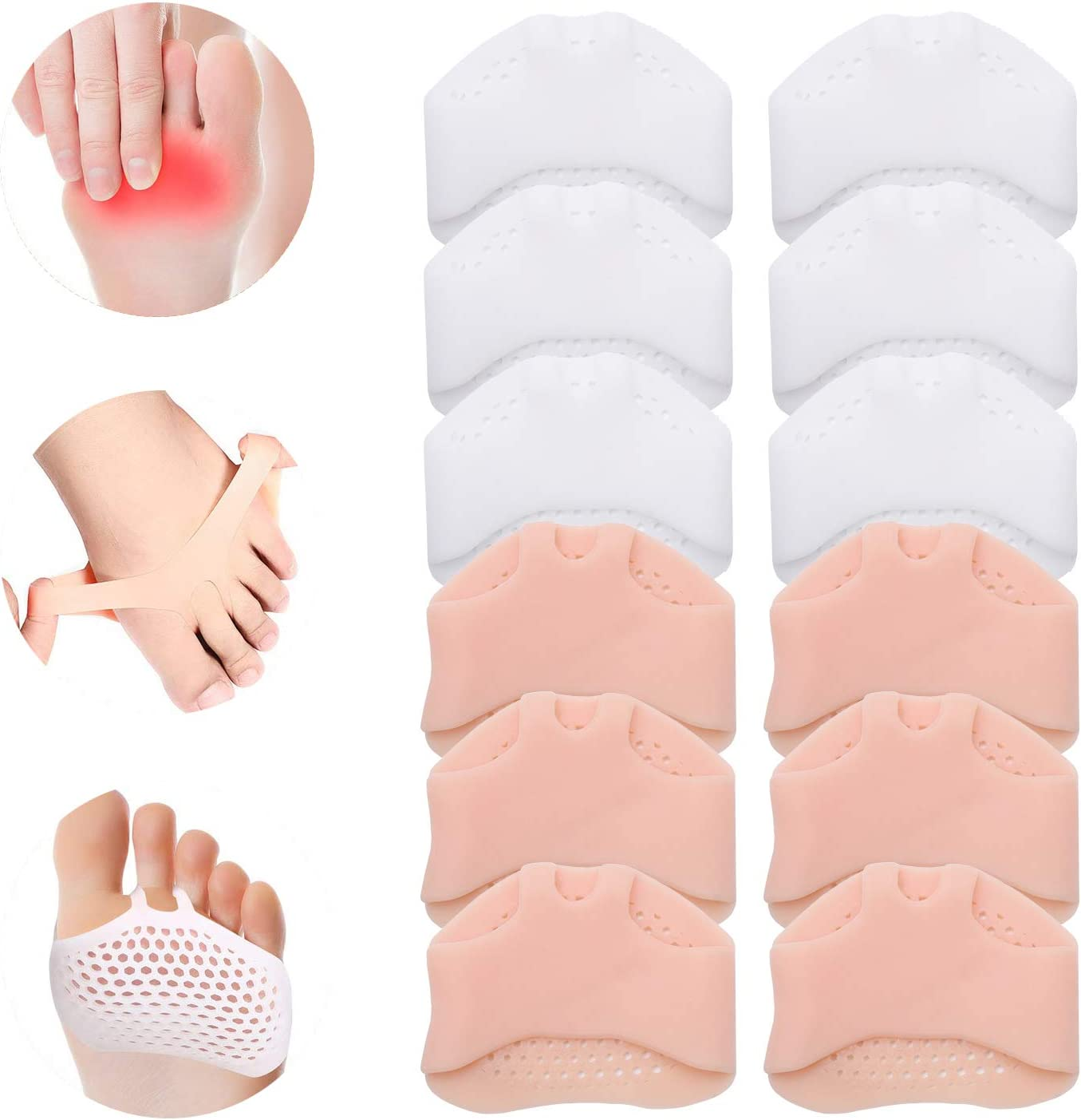 SooGree Metatarsal Pads(6 Pairs), Breathable & Soft Gel Cushion Pads for Men Women Ball of Foot Cushions for Runners, High Heels, Dancers, Morton's Neuroma, Prevent Pain and Discomfort