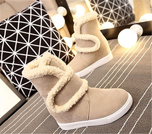 Faux SHOPPING Fur Ankle Velcro Booties Womens Sole Shoes Snow Lining Stylish HAPPYLIVE TPR Beige Wedge Winter Hidden FdCXXq