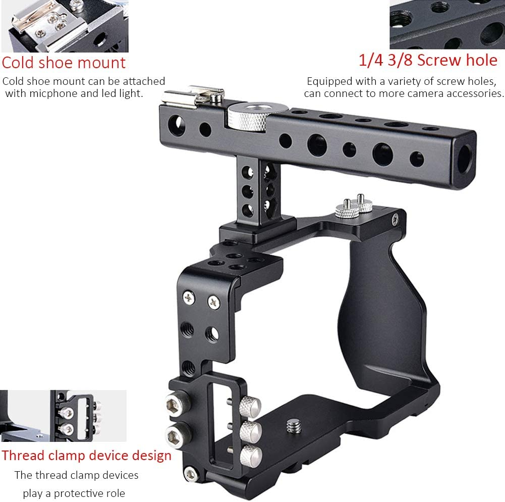 Aluminum Alloy Video Shooting Camera Handheld Stabilizer with Top Handle and Cold Shoe Mount Easy Hood Cage Kit for Sony Alpha A6000 A6300 A6500 A6400 Mirrorless Camera
