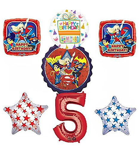 DC Super Hero Girls 5th Birthday Party Supplies and Balloon Decorations