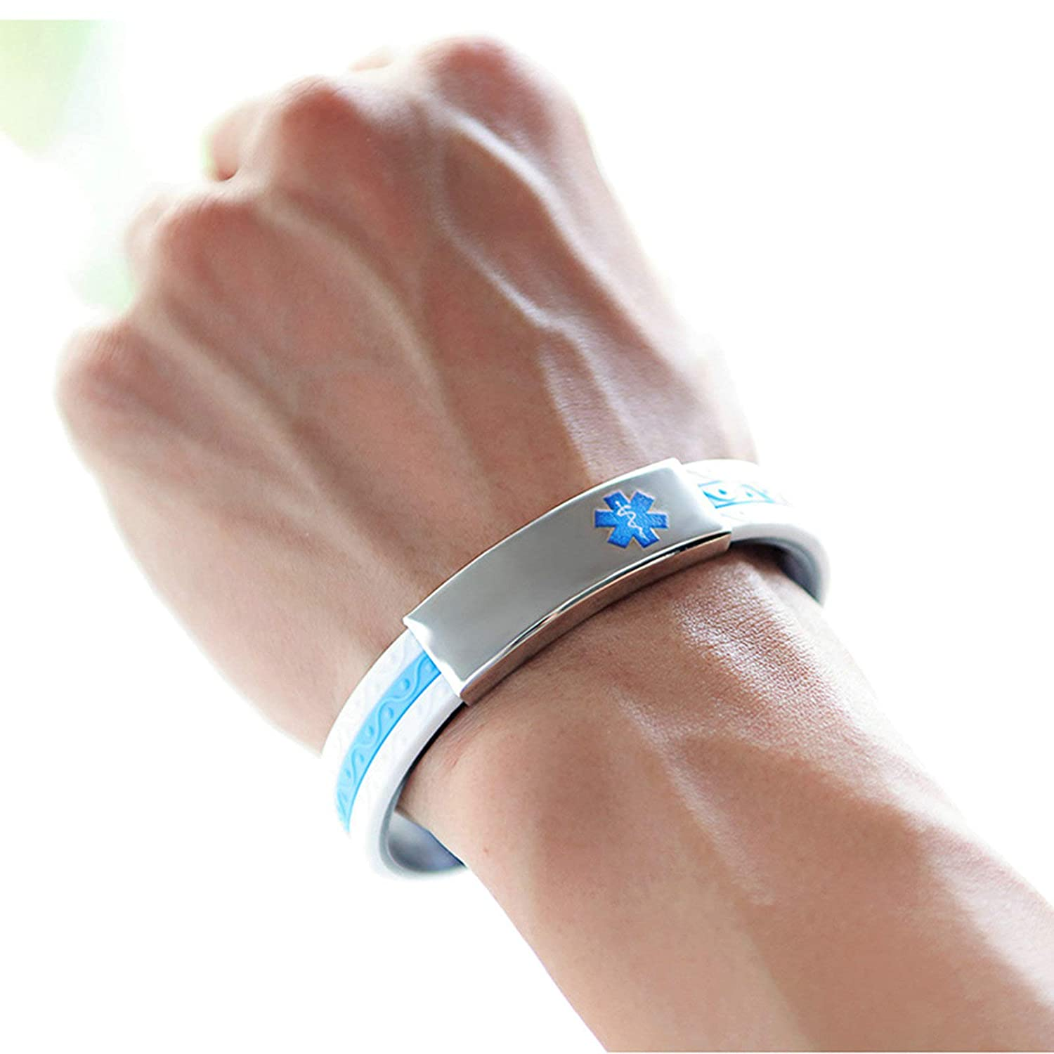 MoAndy Stainless Steel Silicone Medical Bracelet Wristband Emergency Bangle with Easy Clasp