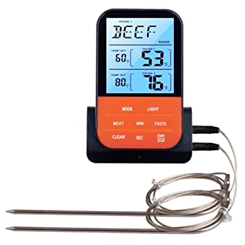 Termómetro digital inalámbrico con sonda doble para barbacoa de horno, horno y termómetro, herramienta de cocción Tamaño libre negro: Amazon.es: Hogar