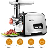 Electric Meat Grinder - Stainless Steel Meat Mincer & Sausage Stuffer, Sausage & Kubbe Kit Included, 3 Different Cutting Plates, Reversal Function, 2000W Max, Home & Commercial Use [ 2 Blades ]