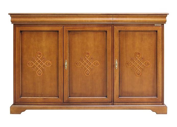 Aparador 3 puertas con frisos en madera, mueble de cocina y comedor ...