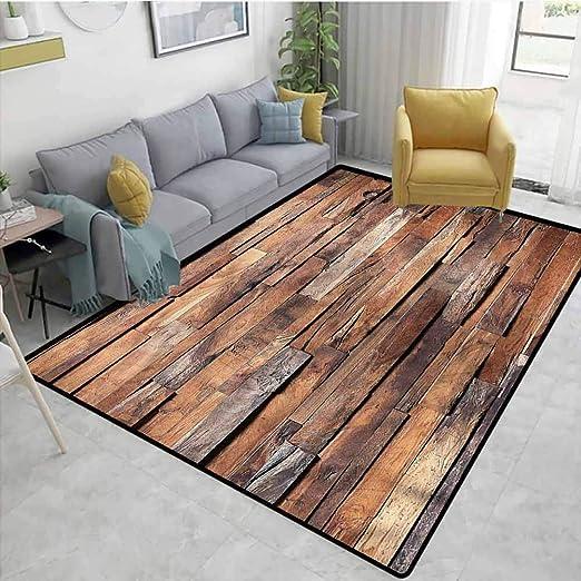 Rustic Colored Retro Wood Planks Round Floor Mat Kids Bedroom Carpet Area Rugs Rugs Carpets Area Rugs