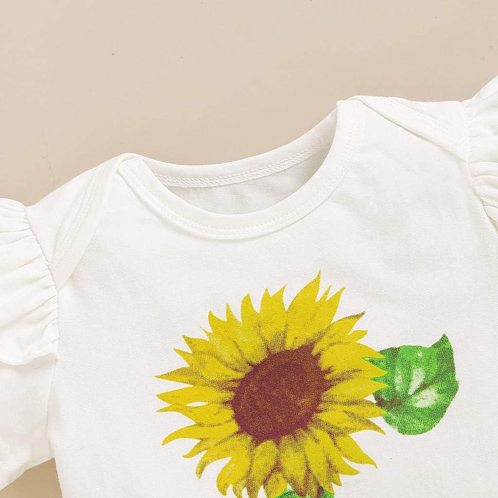 Pantal/ón Cortos BBSMLIN Ropa Bebe Ni/ña Verano 2020 6 a 24 Meses Reci/én Nacido Beb/é Ropita de Conjunto Tres Piezas Girasol Camiseta de Manga Corta