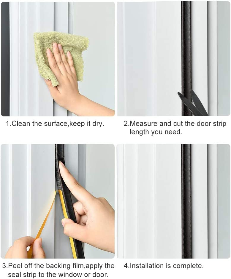 Brown Window Door Frame Weather Stripping S Shape Gasket Foam Seal Strip Strong Adhesive Weatherstrip PU Window Insulation Tape for Botton and Side Waterproof Windproof