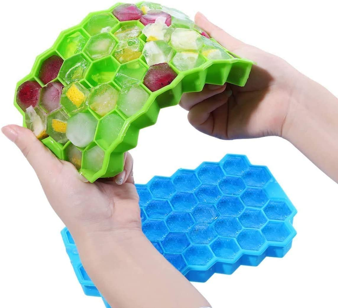Ice Cube Tray, 2 Packs 74 Cubes Hexagon Silicone Ice Cube Molds, Easy-Release, BPA Free, Ice Tray with Lid for Baby Food, Water, Cocktails, Beer, Whiskey, Fruit Ice, for Family, Party & Bar